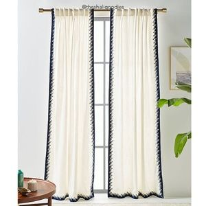 ANTHROPOLOGIE Ina Embroidered Curtain Cotton Blend